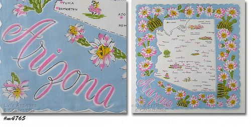 VINTAGE STATE SOUVENIR HANKY FOR ARIZONA