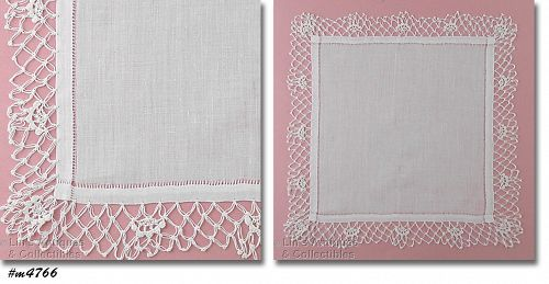 VINTAGE WHITE WEDDING HANKY WITH CROCHET EDGING