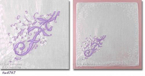 VINTAGE MONOGRAM F HANKY WITH LILY OF THE VALLEY