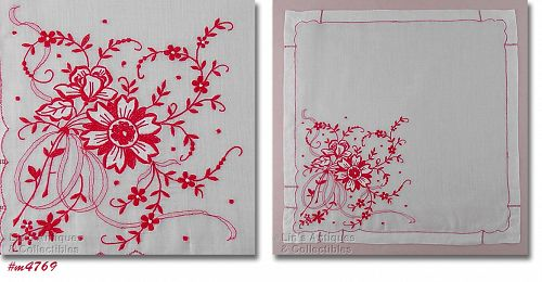 VINTAGE RED WORK FLORAL HANDKERCHIEF
