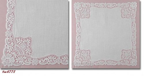 VINTAGE WHITE WEDDING HANKY WITH LACE EDGE