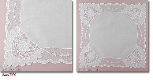 VINTAGE WHITE WEDDING HANKY WITH NETTING EDGING