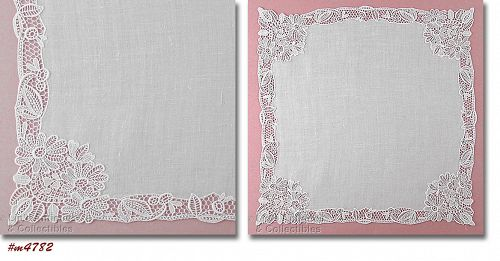 VINTAGE WHITE WEDDING HANKY WITH FLORAL LACE EDGING