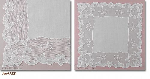 VINTAGE WHITE HANKY WITH FLORAL NETTINGE EDGE WITH LILY OF THE VALLEY