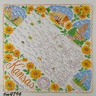 VINTAGE STATE SOUVENIR HANKY FOR KANSAS THE SUNFLOWER STATE