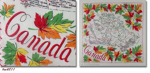 VINTAGE SOUVENIR HANDKERCHIEF FOR CANADA