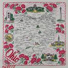 VINTAGE SOUVENIR HANKY FOR OHIO THE BUCKEYE STATE