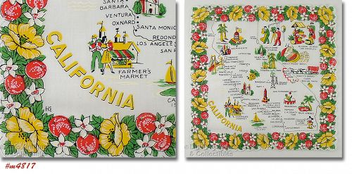 VINTAGE STATE SOUVENIR HANKY FOR CALIFORNIA