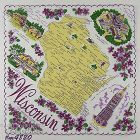 VINTAGE STATE SOUVENIR HANKY FOR WISCONSIN THE BADGER STATE