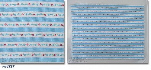 WHITE WITH SMALL BLUE CHECKS BLUE AND RED FLOWERS VINTAGE FEED SACK