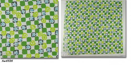 WHITE WITH GREEN SQUARES CIRCLES AND BLUE FLOWERS VINTAGE FEED SACK