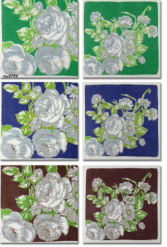 SET OF 3 FLORAL PRINT VINTAGE HANDKERCHIEFS