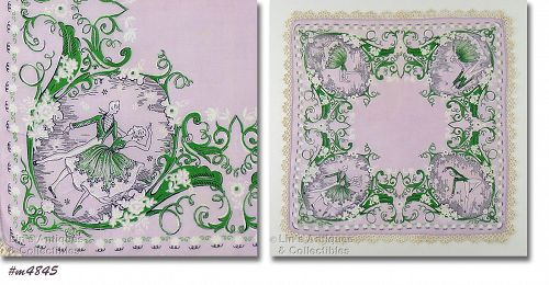 VINTAGE HANKY WITH DANCERS DESIGN AND TATTED EDGING
