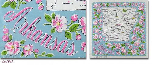 VINTAGE STATE SOUVENIR HANDKERCHIEF FOR ARKANSAS