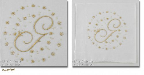 VINTAGE WHITE HANDKERCHIEF WITH G MONOGRAM