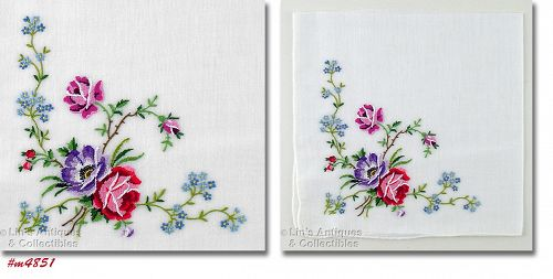 PETIT POINT FLORAL BOUQUET VINTAGE HANDKERCHIEF