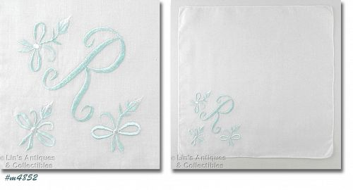 VINTAGEBLUE R MONOGRAM ON WHITE HANDKERCHIEF