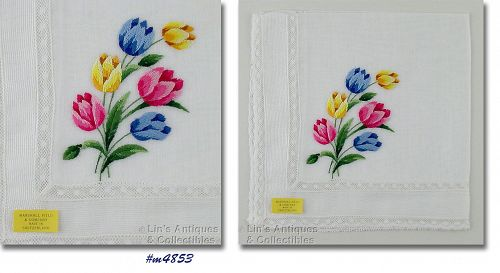 EMBROIDERED TULIPS VINTAGE WHITE HANDKERCHIEF FROM MARSHALL FIELD & CO
