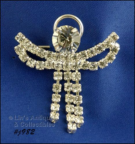 EISENBERG ICE RHINESTONE ANGEL PIN ROBE DANGLES HAS MOVEMENT 2 AVAIL.