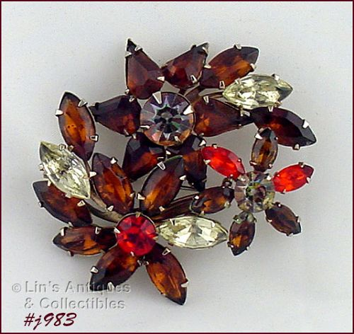 VINTAGE RHINESTONE PIN SHADES OF FALL WITH PRONG SET RHINESTONES