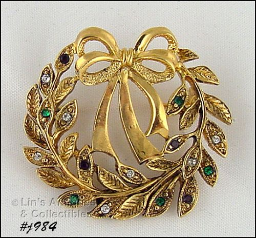 EISENBERG ICE WREATH SHAPED PIN GOLD TONE WITH RHINESTONES 2 AVAILABLE