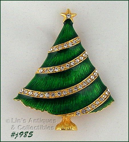 EISENBERG ICE CHRISTMAS TREE PIN GREEN ENAMEL WITH RHINESTONE GARLAND