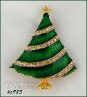EISENBERG ICE CHRISTMAS TREE PIN GREEN ENAMEL WITH RHINESTONE GARLAND