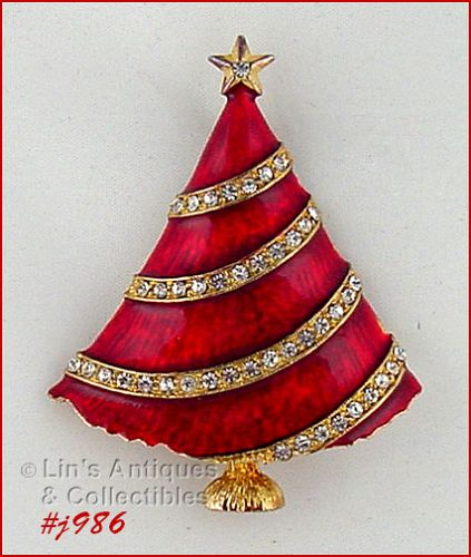 EISENBERG ICE CHRISTMAS TREE PIN RED ENAMEL WITH RHINESTONE GARLAND