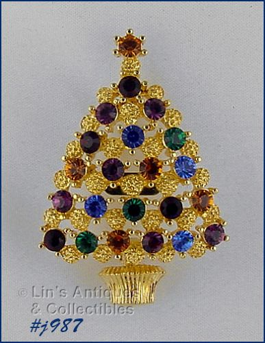 EISENBERG ICE CHRISTMAS TREE PIN WITH MULTI COLOR RHINESTONES 2 AVAIL