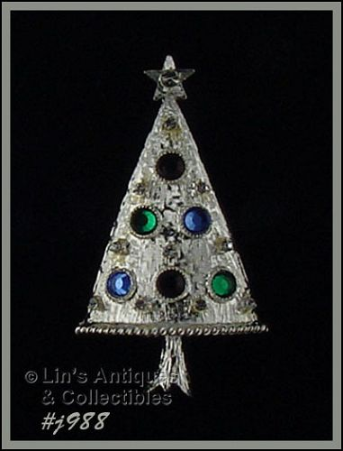EISENBERG ICE CHRISTMAS TREE PIN SILVER TONE WITH RHINESTONES