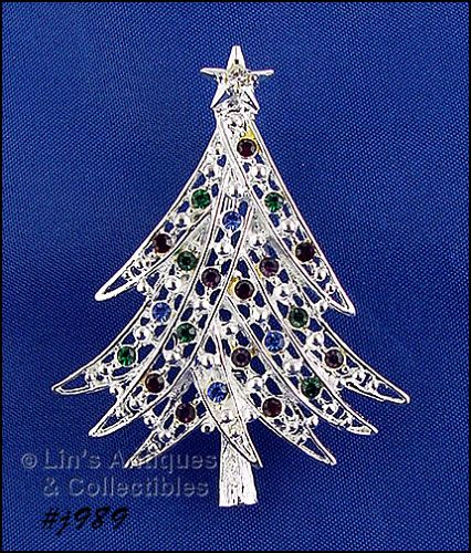 EISENBERG ICE CHRISTMAS TREE SILVER TONE WITH MULTI COLOR RHINESTONES