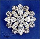 EISENBERG ICE PIN WITH ROUND AND MARQUIS CLEAR PRONG SET RHINESTONES