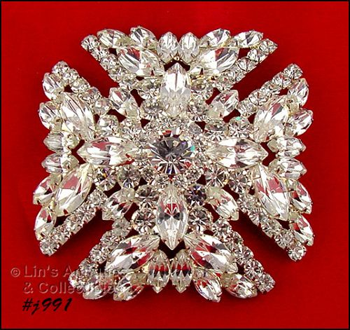 SIGNED EISENBERG ICE CLEAR RHINESTONES MALTESE CROSS BROOCH
