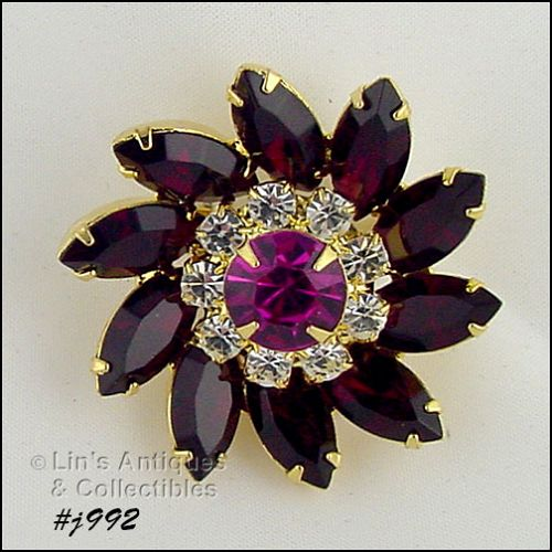 EISENBERG ICE PINWHEEL PIN WITH RED CLEAR AND PINK RHINESTONES 2 AVAIL