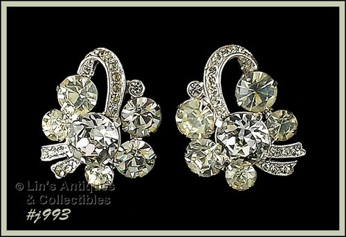 EISENBERG ICE VINTAGE EARRINGS CLEAR RHINESTONES CLIP BACKS