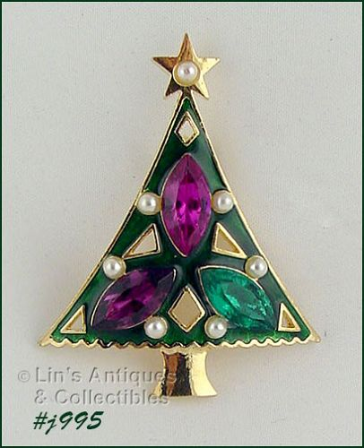 EISENBERG ICE GREEN ENAMEL TREE PIN WITH RHINESTONES AND FAUX PEARLS