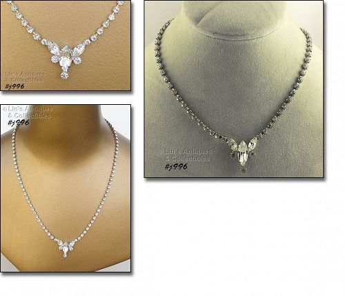 VINTAGE EISENBERG ICE CLEAR PRONG SET RHINESTONES NECKLACE