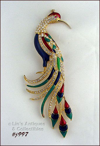 EISENBERG ICE LARGE PEACOCK PIN WITH ENAMELING AND CLEAR RHINESTONES