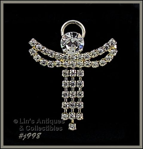 EISENBERG ICE RHINESTONE ANGEL PIN WITH DANGLING ROBES TWO AVAILABLE