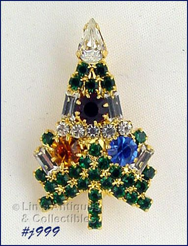 EISENBERG ICE SMALL CANDLE TREE PIN WITH MULTI COLOR RHINESTONES
