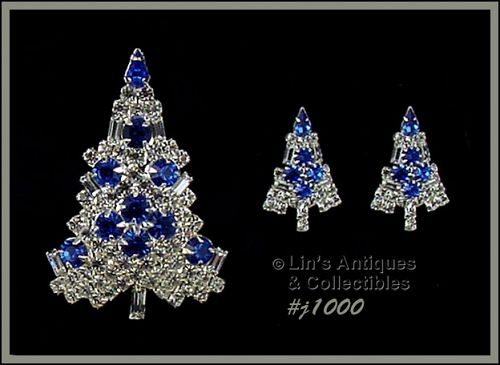 EISENBERG ICE CANDLE TREE PIN AND EARRINGS BLUE AND CLEAR RHINESTONES