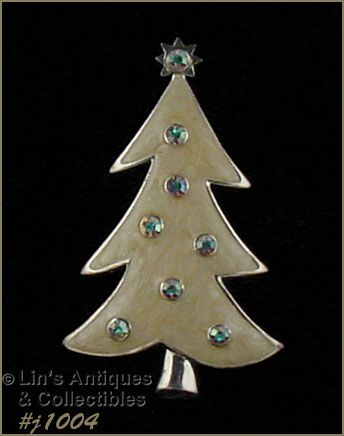 EISENBERG ICE ENAMEL CHRISTMAS TREE PIN AND AURORA BOREALIS RHINESTONE