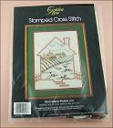 VINTAGE STAMPED CROSS STITCH KIT GOLDEN BEE FARM SCENE PICTURE