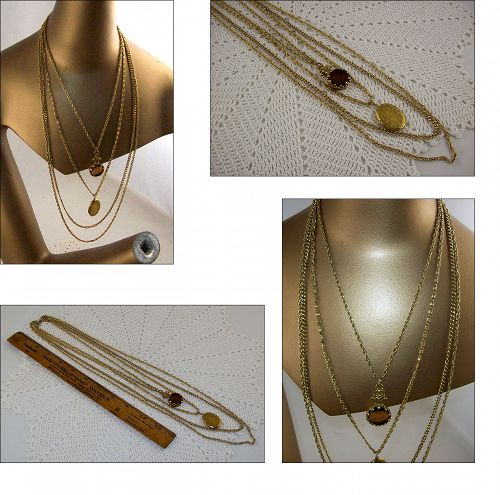 VINTAGE GOLDETTE 4 GOLD TONE CHAINS WITH LOCKET AND INTAGLIO CAMEO
