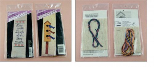 TWO VINTAGE COUNTED CROSS STITCH BOOKMARK BANAR DESIGNS KITS UNOPENED