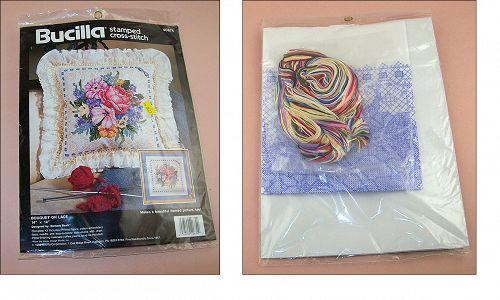 BUCILLA BOUQUET ON LACE STAMPED CROSS-STITCH MINT CONDITION UNOPENED