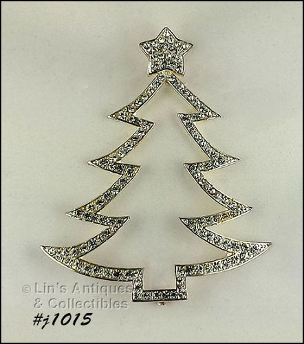 EISENBERG ICE CHRISTMAS TREE PIN LARGE OPEN OUTLINE SHAPE SILVER TONE