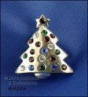 EISENBERG ICE STUBBY CHRISTMAS TREE SILVER TONE PIN