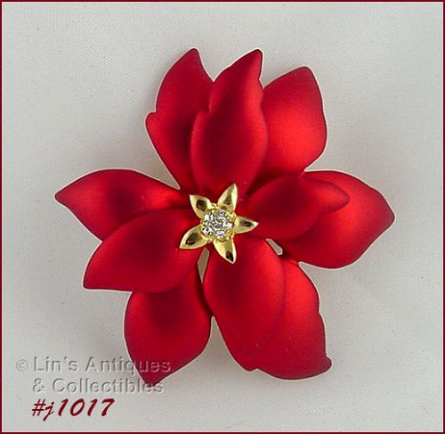 EISENBERG ICE RED POINSETTIA PIN SATIN FINISH AND CLEAR RHINESTONES