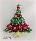 EISENBERG ICE CHRISTMAS TREE PIN RED AND GREEN ENAMELING TWO AVAILABLE